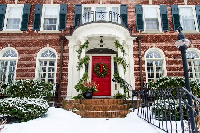 Portland, Maine USA December 2014 West End Home Doorway holiday decorations photo by Corey Templeton