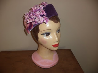 purple velvet with violets fascinator hat by copperhairartist helen's hatbox