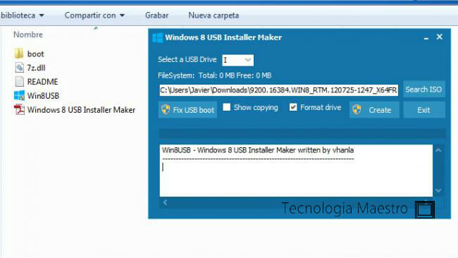 Instalar Windows 8 desde una memoria USB, con Win8USB