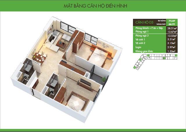 mặt bằng hh2 dương nội - căn hộ D3