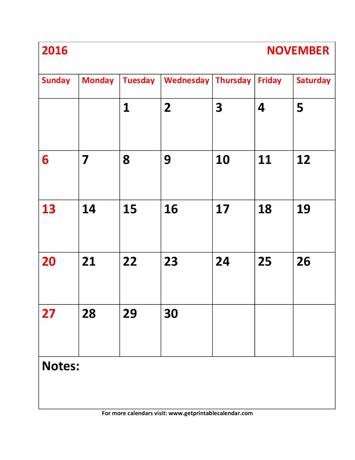 November Calendar 2016 Printable Pdf : Printable calendar november pdf
