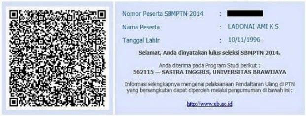 Daftar peserta yang lulus SBMPTN 2014