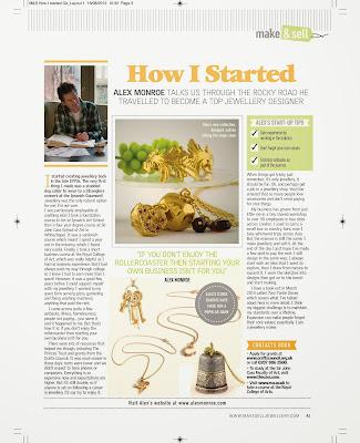 Make & Sell Jewellery magazine feature Alex Monroe