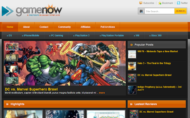 Game Now Blogger Template