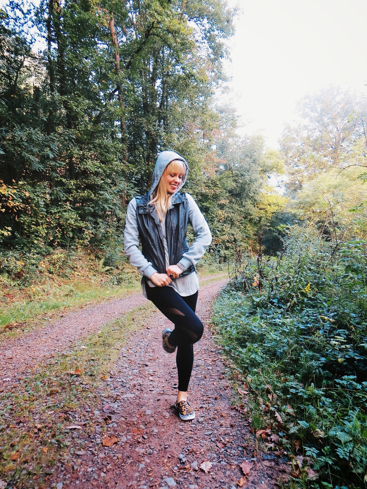 deb shops grey moto jacket, deb shops grey split hem tee, deb shops black illusion leggings, deb shops leopard print slip ons, marisa diane designs paua shell ring, casual outfit ideas, casual style, sporty style, athletic style outfit, walk in the woods, fog