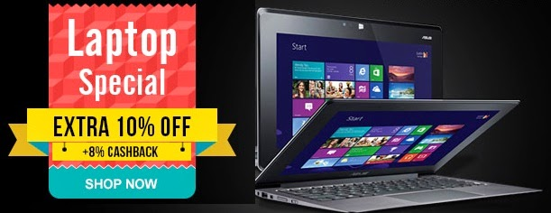 Laptop sale : Extra 10% off + 8% wallet cashback