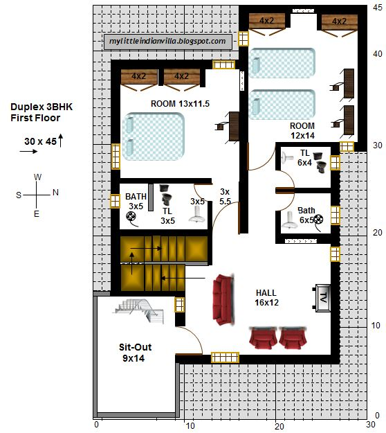East facing house vastu plan 30 x 45 30 by 45 house plans