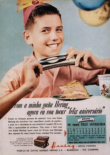 """Propaganda da Gaita Hering em 1980: campanha com o tema """"aniversário"""""""