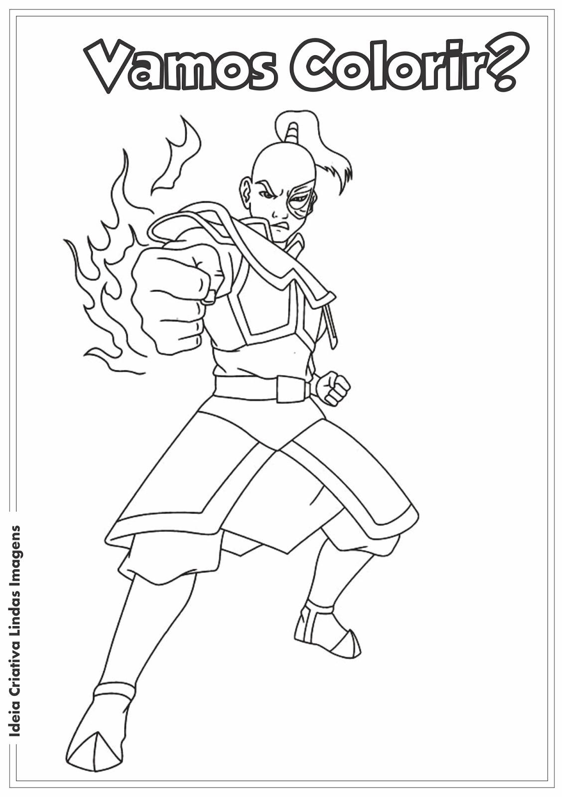 Avatar - Príncipe Zuko desenho para colorir