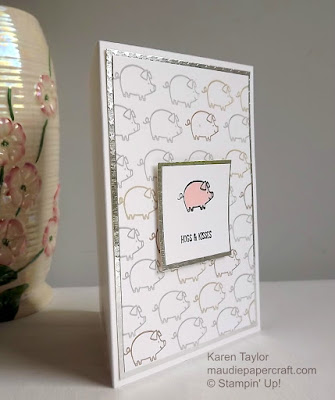 Stampin' Up! Barnyard Babies, hogs and kisses card