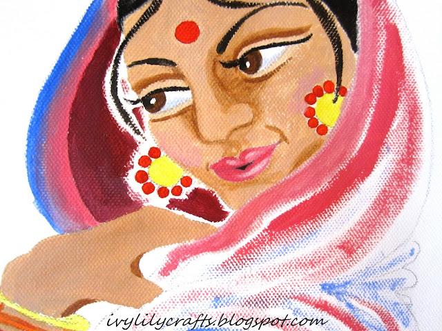 "Indian Art: Painting Process of ""Hindu Woman""."