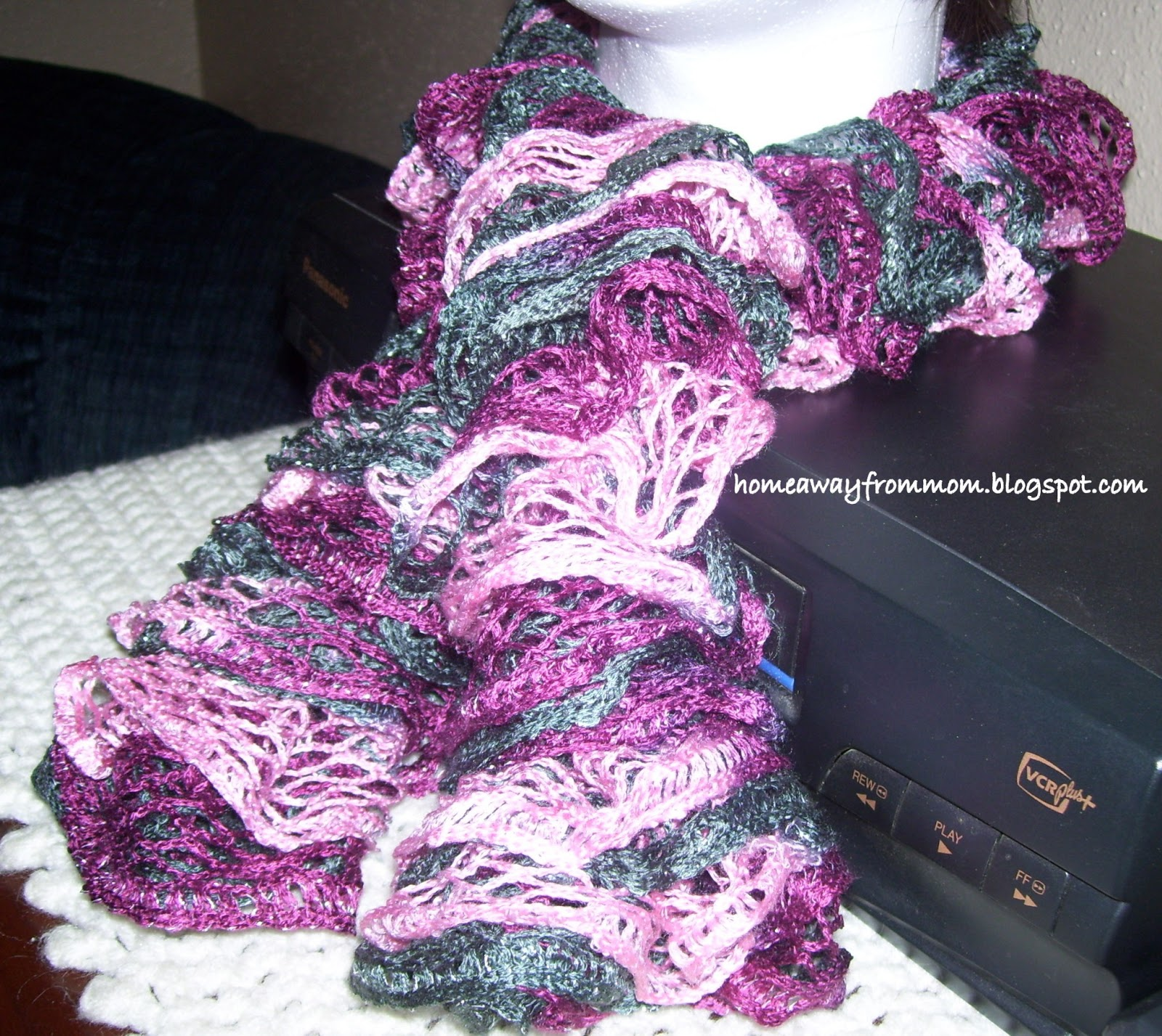 Cable Knit Hat Free Pattern : Home Away From Mom 2: How To Knit Red Heart Boutique Sashay Scarves