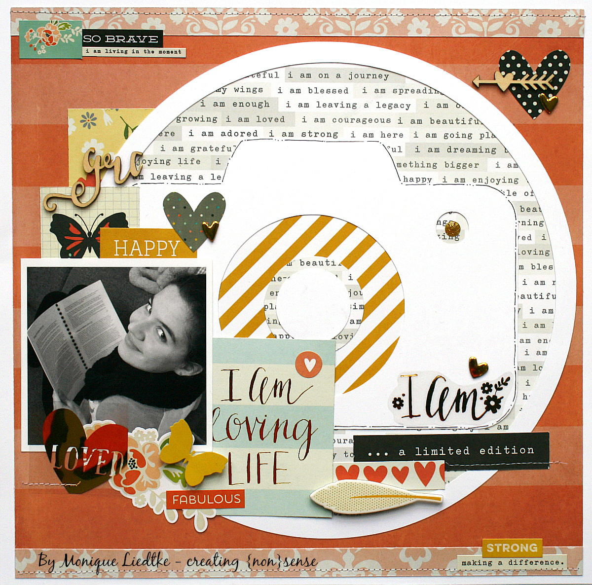 I Am Scrapbook Page by Monique Liedtke featuring 17turtles Digital Cut File Everyday Circle Clips