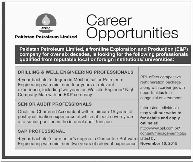 Engineering & Accounts Jobs in Pakistan Petroleum Limited