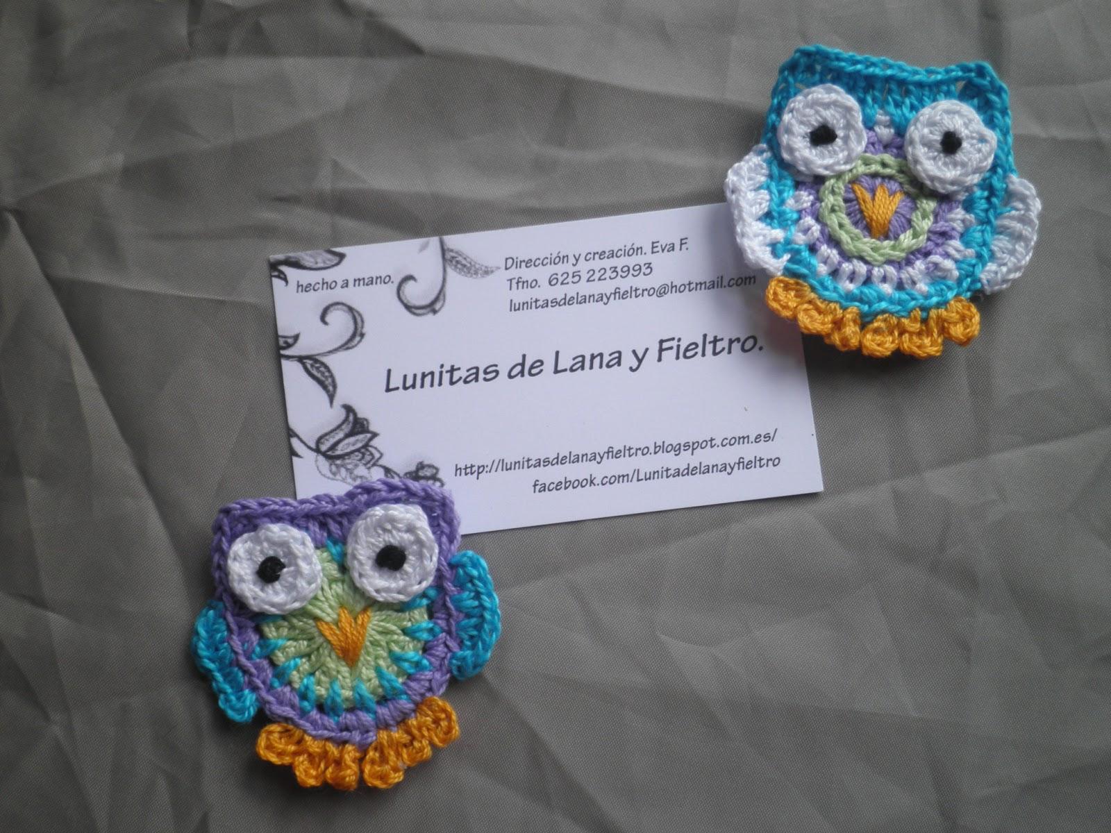 Lunitas de Lana y Fieltro: Duo de buhos tejidos a ganchillo, apliques