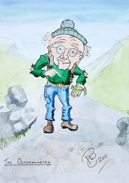 cartoon of elderly walker