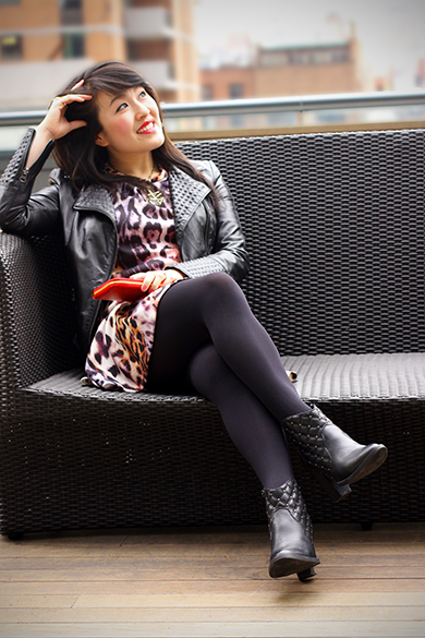 Zara moto studded leather jacket with leopard print dress
