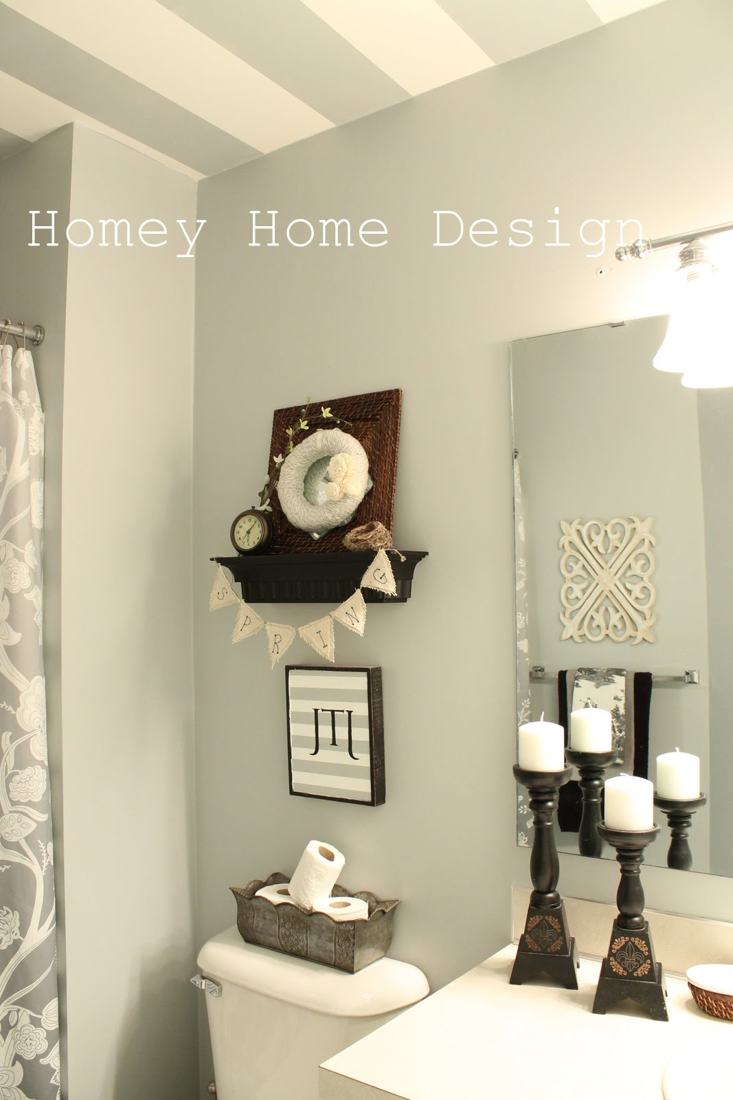 Homey home design spring updates in the bathroom for Spring bathroom decor