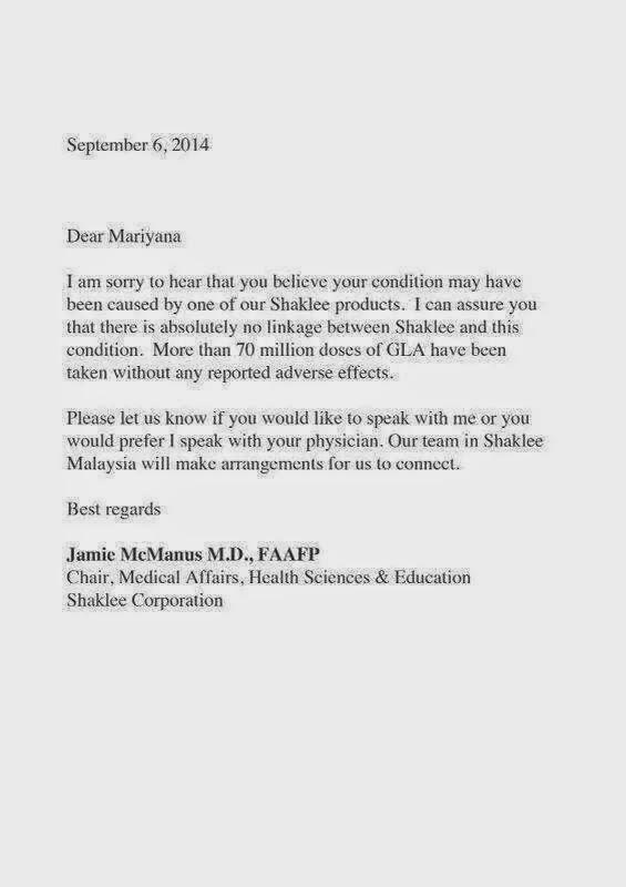 Surat Terbuka daripada Shaklee buat cikgu Mary