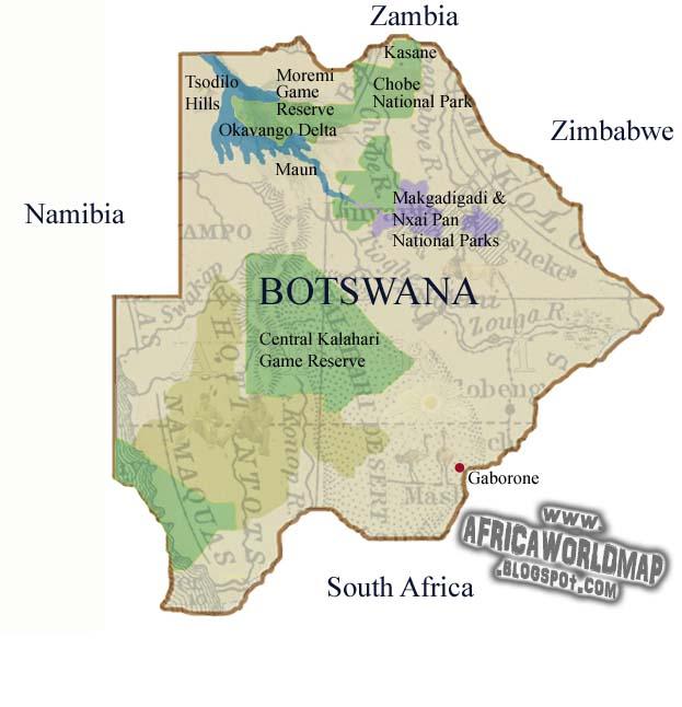 Botswana World Map And Information - Kalahari desert map