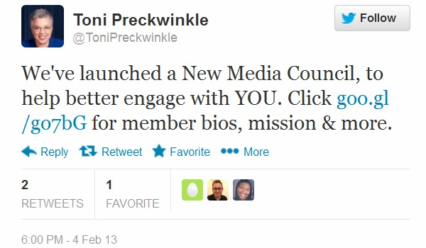 Tweet from Cook County Board President Toni Preckwinkle