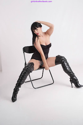 Fabulous Black Leather Zip and Buckle Thigh Boots