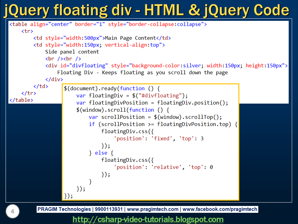 Sql server net and c video tutorial jquery floating div - Jquery floating div ...