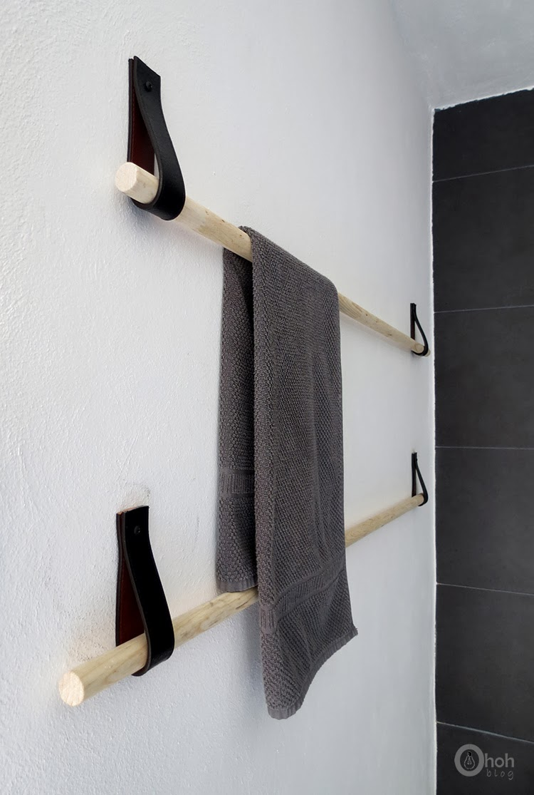 Towel Hanger Part - 31: Cut The Belt In (4) Equal Straps And Make A Hole At Each End (to Pass A  Screw). Make Two Holes In The Wall At The Same Height And At A Distance ...