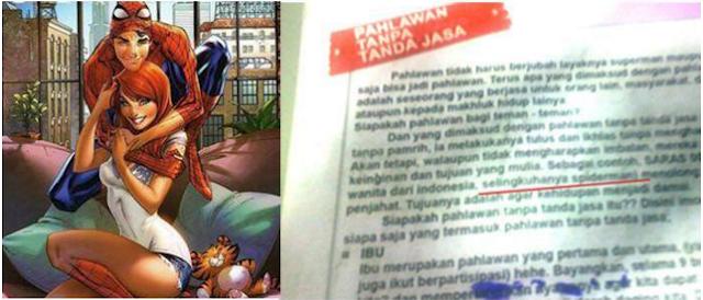 Astaghfirullah!! Buku SD ini berisi Saras 008 selingkuhan Spiderman