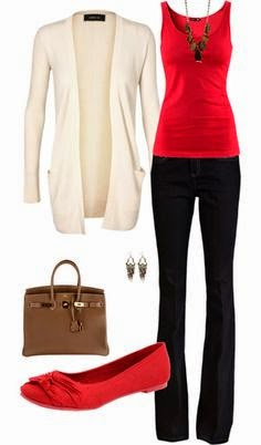 all business casual outfit. Red tanktop black pants ivory cardigan brown bag red flats