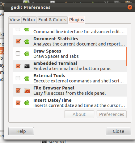 After That Go To Gedit EditPreferencesPluins And Activate Embedded Terminal You Can See Also Got Some New Cool Plugins