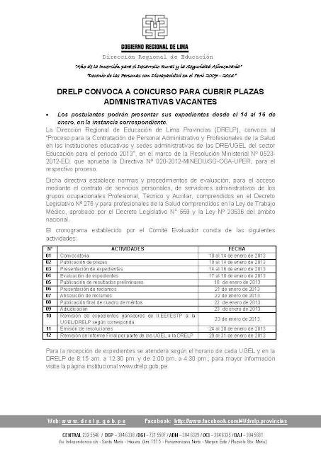 Convocatoria de plazas vacantes desiertas ugel n 186 08 ca for Convocatoria plazas docentes