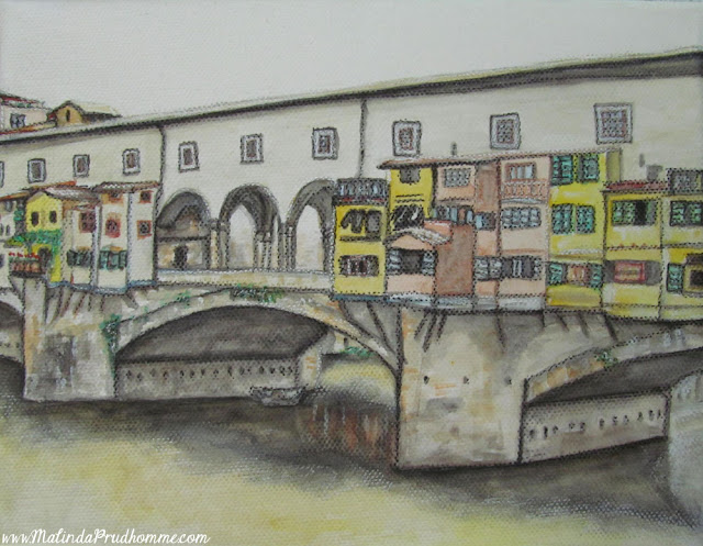 travel artist, mixed media artist, watercolour paintings, travel art, charcoal artist, mixed media art, original paintings, italy, florence, ponte vecchio, florence bridge