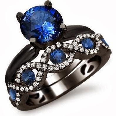 2.15ct Blue Sapphire Diamond Engagement Ring Bridal Set 18k Black Gold