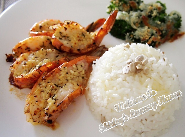 cook for family, grilled garlic prawns, buttered rice