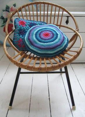 crochet, handmade, vintage, granny chic, granny square, blue, Haafner, chair