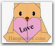 Bước 17: Hoàn thành cách xếp con gấu ôm trái tim bằng giấy theo phong cách origami.