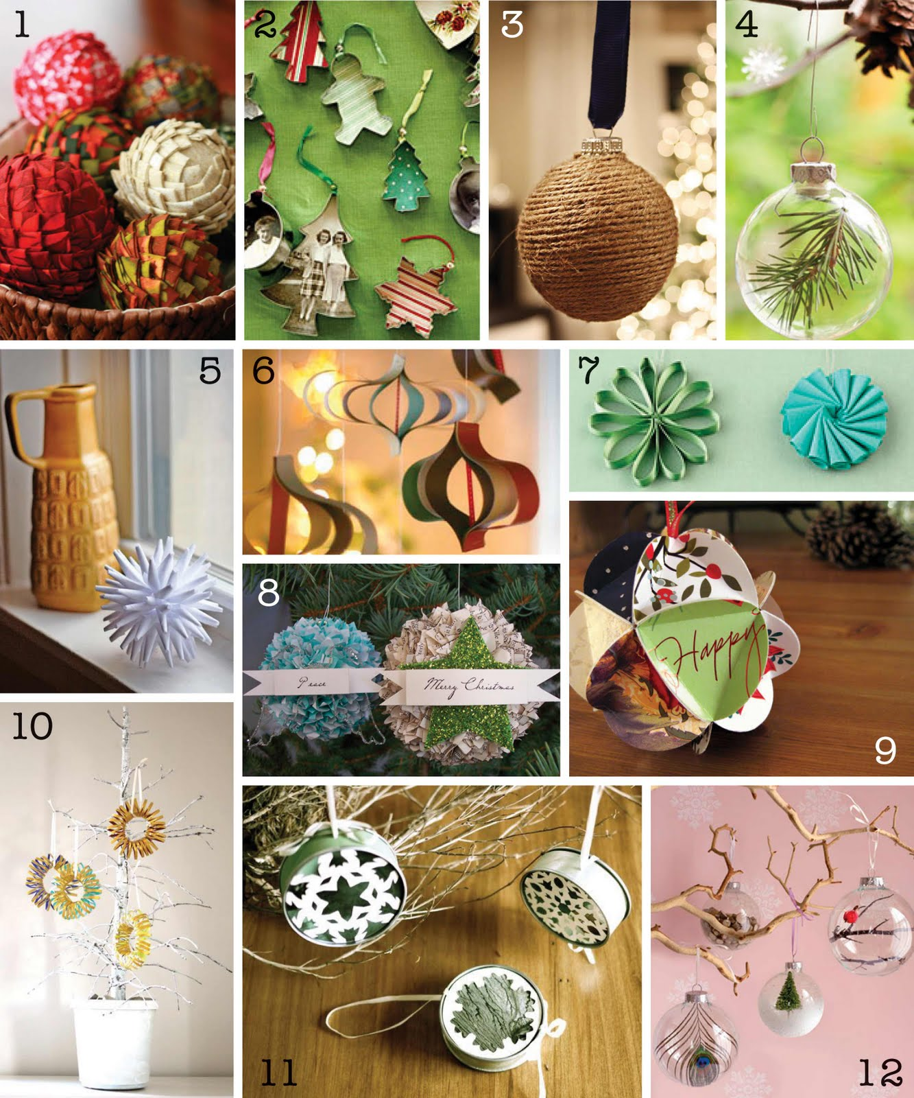The creative place diy christmas ornament round up for Homemade tree decorations