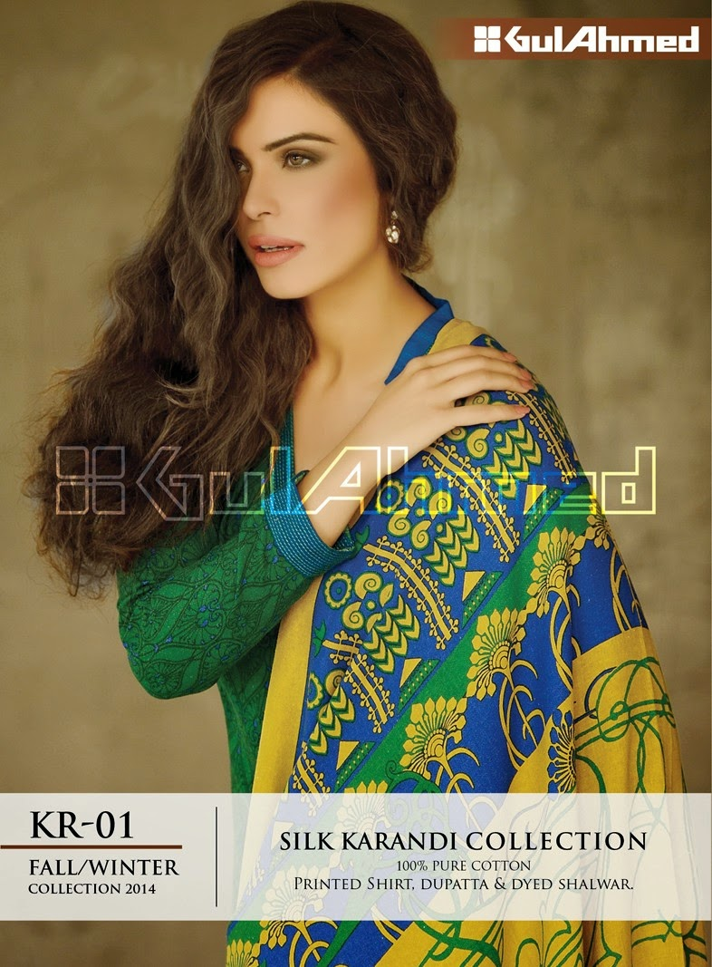GulAhmed Fall/Winter 2014 Silk Karandi Collection - KR-01