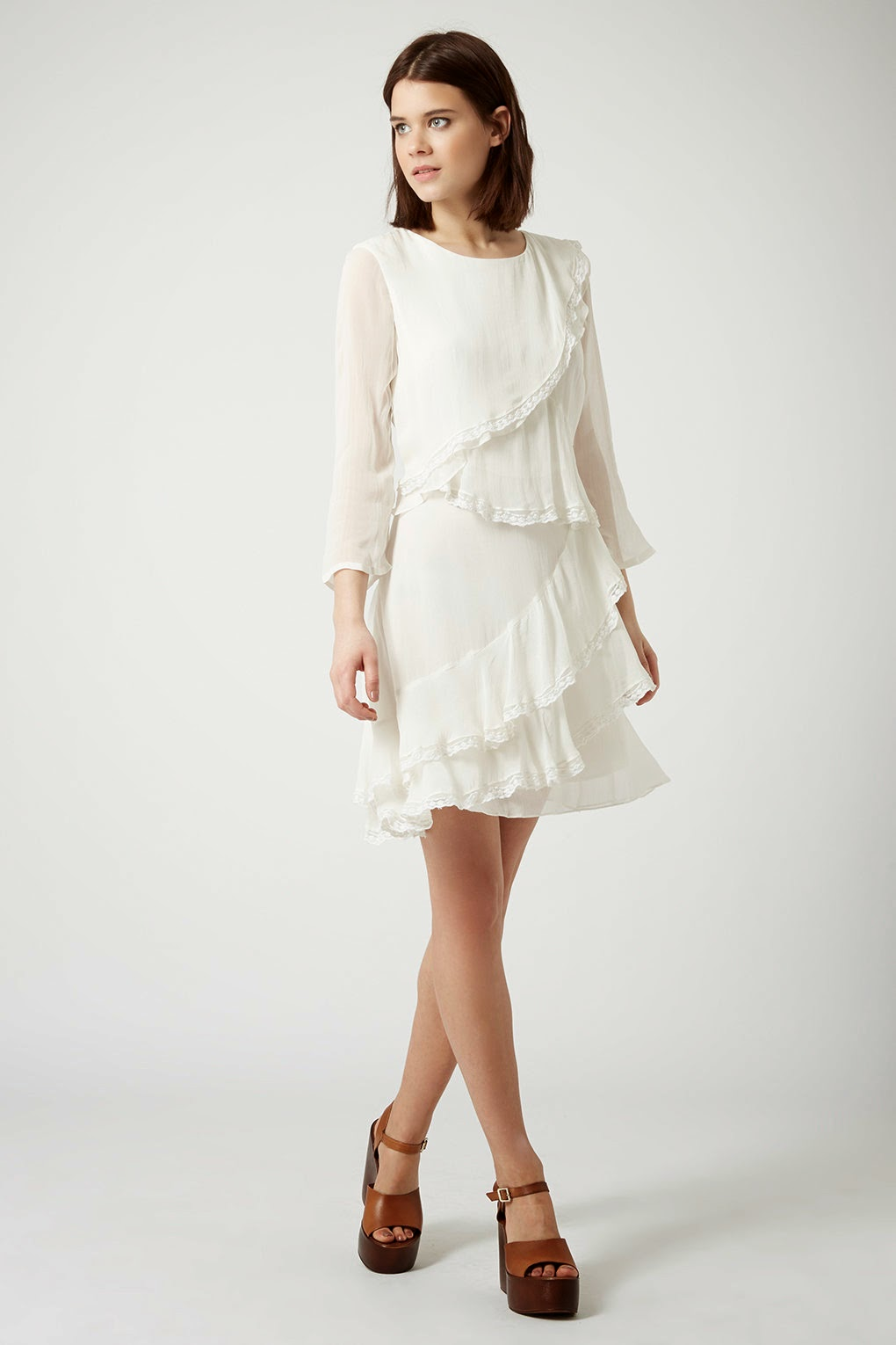 topshop white frilly dress,