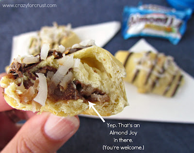 Close up shot of Almond joy crescent rolls