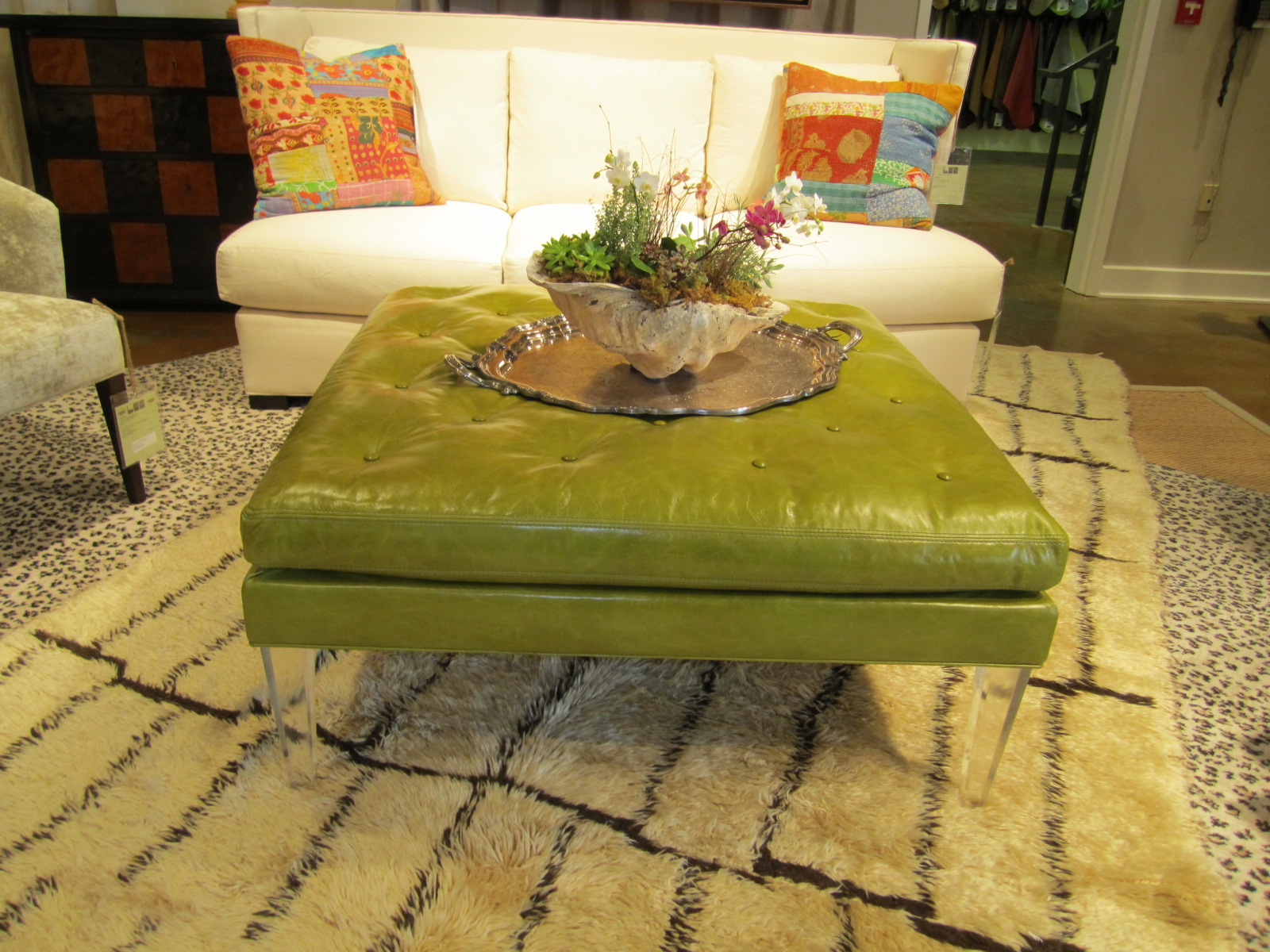 Mixing lime green leather and lucite a