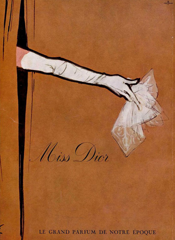 Christian Dior Miss Dior vintage perfume ad by Rene Gruau
