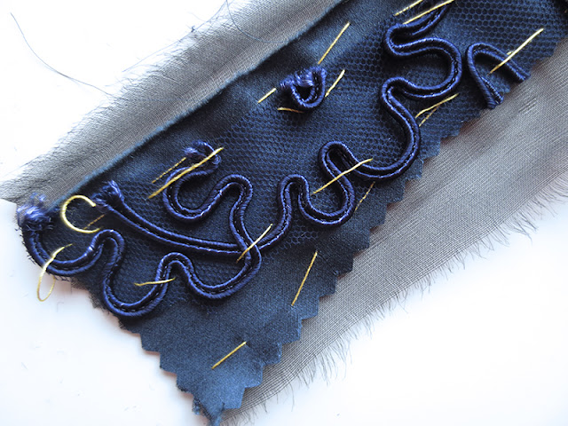 Dark blue lace pencil skirt three layers   www.stinap.com