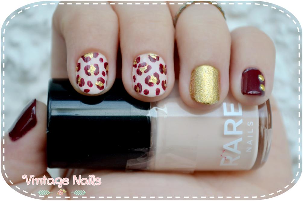 manicura oto241al con estampado de leopardo vintage nails