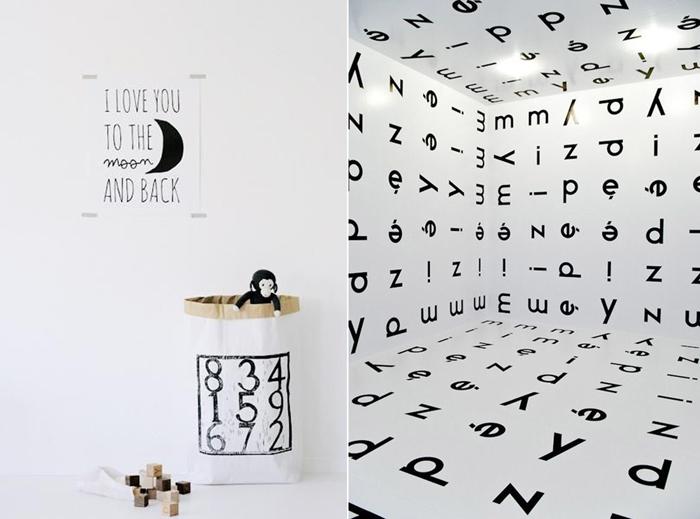 black& white in children's rooms