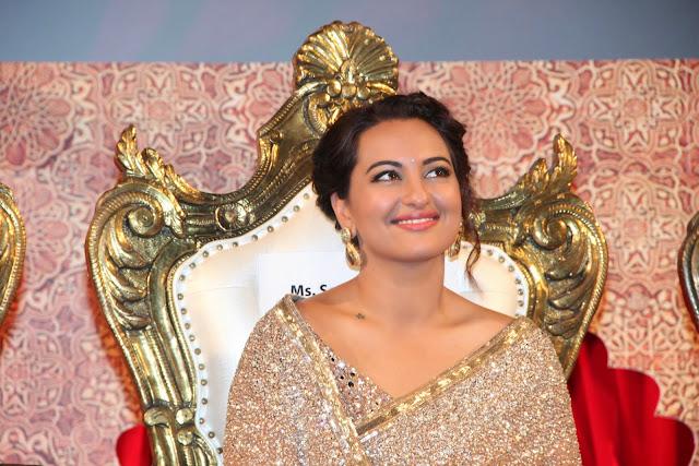 Sonakshi Sinha in Beautiful Dazling Brown Saree at Lingaa Audio Release Function