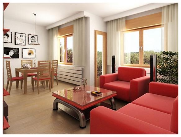 Fotos de dise os de salas en colores rojo y blanco c mo for Sala de estar futurista