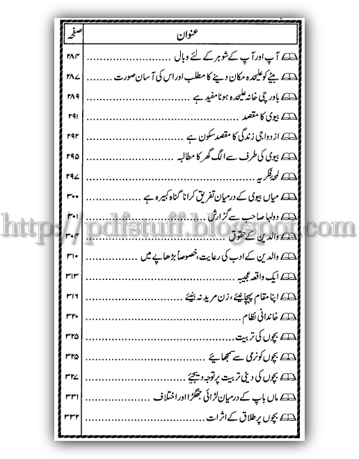 index of Tuhfa -e-Dulha book