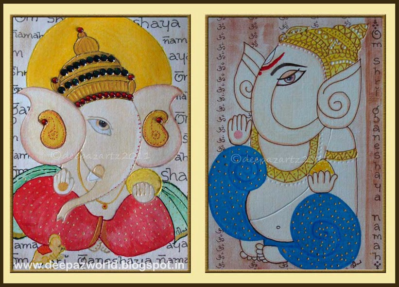 Ganeshas-red-and-blue-on-acrylic-pad-Hues-n-Shades